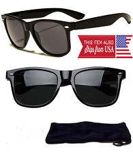 New Sunglasses Retro Glasses Vintage Frame Unisex Fashion Black with Pouch