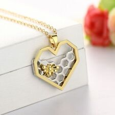 Hive Jewelry Heart Choker Animal Honeycomb Pendant Necklace Honeybee With Bee