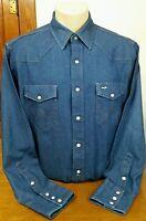 Wrangler Pearl Snap Blue Jean Denim Shirt Men's Cotton Western Cowboy No Size