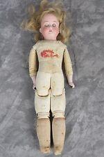 """Antique German Floradora 275 15/0 Doll Bisque Head Leather Body Sawdust 13"""""""