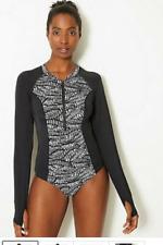 M&s Black White Long Sleeve Sports Swimming Costume Size 14 Sun Smart