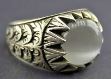 Sterling silver men ring handmade, moonstone natural gemstone, steel pen craf