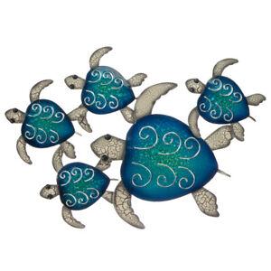 5 Turtles Swimming Metal Hanging Wall Art Transquil Ocean Coastal Décor 62 cm