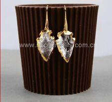 Boho Gold Natural Rough Clear Quartz Arrowhead Geode Druzy Earrings Gemstone