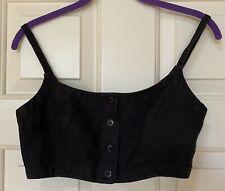 cropped spaghetti strap button woven fabric top, size s, black