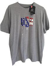 Under Armour Freedom United States of America USA Mens T Shirt HeatGear Gray L