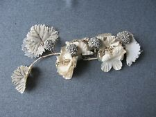 Vintage white & silvered flowers fruits leaves for millinery crafts jewelry #c4