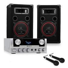 DJ PA Anlage Karaoke Komplett Set Boxen Lautsprecher Verstärker Mikrofon System