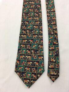 Van Heusen 417 Elephants USA Made All Silk Neck Tie
