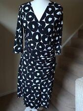 Black And White Wrap Dress Joseph Ribkoff Size UK 14 Stretch