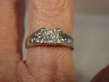 10K White Gold Size 7 #489 Diamond Pave Anniversary Wedding Band Bridal Ring