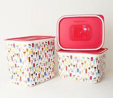 Tupperware Quadro Set (3) Eis Set Behälter Dose 2,1 & 1,3 L & 500 ml