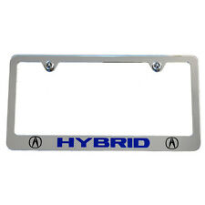 Acura HYBRID Chrome License Plate Frame - Acura Logo Screw Covers - Made in USA
