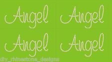 "Iron-On Rhinestone Design  ""Angel""  Any Color Set of 4 DIY Transfer Motif Bling"