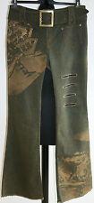 "BEAUTY ANGEL PARIS Bootcut Slashed UK12-14 W31""/L32"" Graffiti Green Denim Jeans"