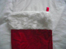 GIANT RED VELVET SANTA STOCKING WITH WHITE FLUFFY TOP EDGE AND HANGING LOOP