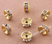 100 Pcs Gold Plated Crystal Mosaic Spacer Beads Charms Jewelry Findings 8mm