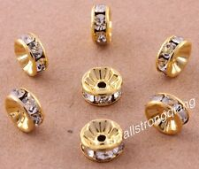30 Pcs Gold Plated Crystal Mosaic Spacer Beads Charms Jewelry Findings 8mm