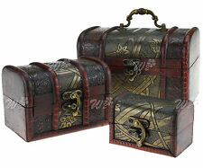 3pcs Wooden Jewellery Storage Case Holder Vintage Treasure Chest