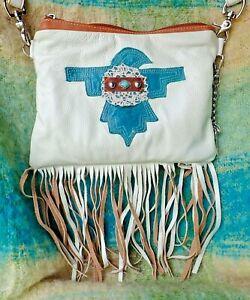 CUSTOM MADE Pebble Leather and Pendleton Wool White Fringe Shoulder Bag Purse