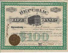 ILLINOIS 1875 The Republic Life Insurance Company Of Chicago Stock Certificate