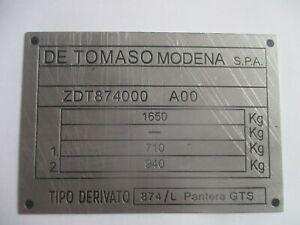 Id Nameplate de Tomaso Pantera GTS s29