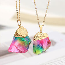 Fashion Natural Crystal Chakra Rock Quartz Pendant Necklace Colorful Stone ym