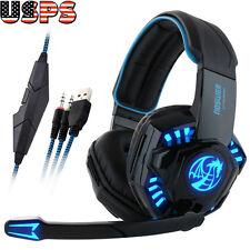Professional Gaming Headphone USB Vibration Game Headset with Mic LED Light Lot
