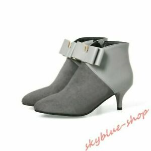 New Women Ankle Boots Kitten Heel Bowknot Pointed Toe Suede Dress Shoes Gray US9