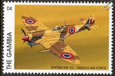 French air force (ala) spitfire mk. vc avion timbre (1996 gambie)
