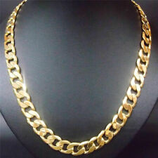 Fashion Yellow Solid Gold Filled Cuban Chain Necklace Thick Men & Women 24'' 7mm