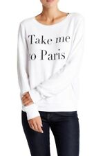 New WILDFOX COUTURE Take Me To Paris Baggy Beach Jumper Clean White Small S