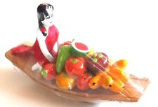 MINIATURE CLAY DOLL BOATS SELLING FRUIT THAI VINTAGE FLOATING MARKET 3 in. RED
