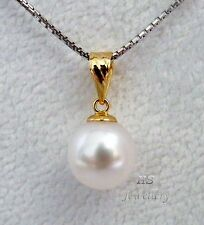 HS Round South Sea Cultured Pearl 9.3mm Pendant 18K Yellow Gold in AAA Grading