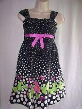 Girls JESSICA ANN BLACK AND WHITE/ POKADOT W/ PINK BUTTERFLY'S  Dress Size 12
