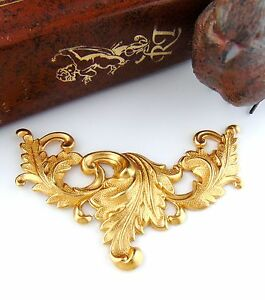 Vintage Brass Flower Drop Stampings Open Teardrop with rings 31x20 6