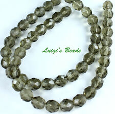 25 Black Diamond Czech Firepolished Faceted Round Glass Beads 8mm
