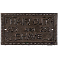 Cast Iron HAIR CUT & SHAVE SIGN PLAQUE ~ Rustic Vintage Look Wall Decor
