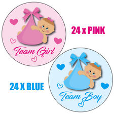 48 x GENDER REVEAL PARTY baby shower, 24x Team Girl 24 x Team Boy Stickers 021