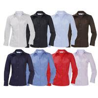 ENSEMBLE Ladies New Long Sleeve Open Neck Blouse Shirt Work Office Smart Button