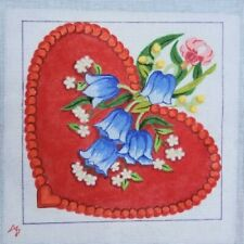 """hand painted needlepoint canvas 18ct red flowered heart 10x10"""""""