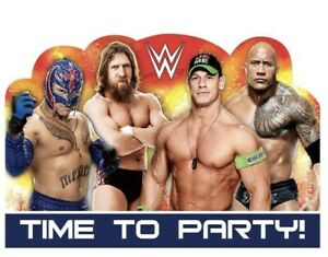 WWE Wrestling Invitations w/Envelopes (8) Party Supply Decorations.