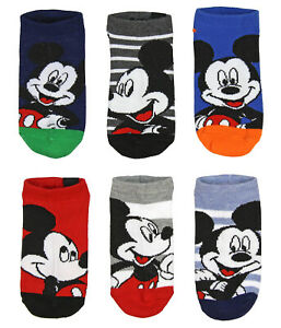 Disney Mickey Mouse Boys' Ankle 5 Pair Children's No Show Socks