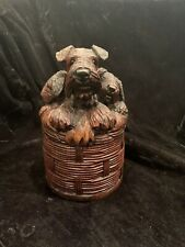 Antique Hand Carved Wooden Box Terriers Scottie Dogs Rare