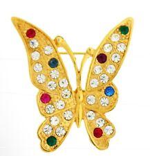 Gold tone Butterfly clear blue fuschia rhinestones    BROOCH