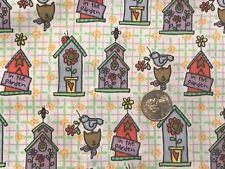 "Daisy Kingdom Sue's Garden Allover Birdhouses Cotton Quilt Fabric 44""BTHY 1/2 yd"