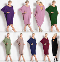 New Womens Ladies Long Cocktail Backless Summer Midi Baggy Plus Dress Size 8-26