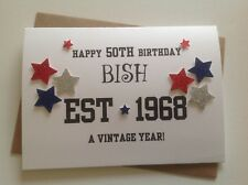 Handmade male birthday card-18th, 21st, 30th, 40th etc... Name and year