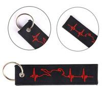 Red ECG Heartbeat Keychain Keyring Embroidery Luggage Motorcycle Key Chain GIFT