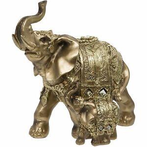 GOLD ELEPHANT AND CALF DECORATIVE ORNAMENT  BY MATURI